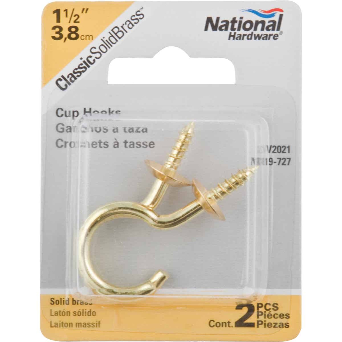 National V2021 1-1/2 In. Solid Brass Series Cup Hook (2 Count) Image 2
