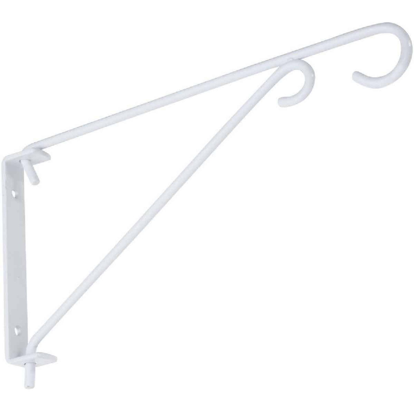 National 9 In. White Steel Swivel Hanging Plant Bracket Image 1