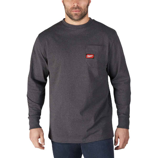 Milwaukee Small Gray Long Sleeve Men's Heavy-Duty Pocket Shirt